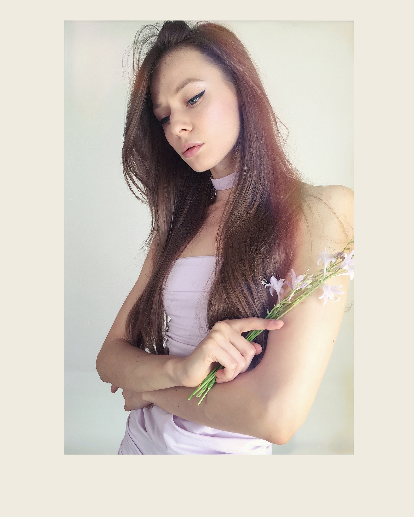 fashion blogger, model, artist Tanya She in lilac